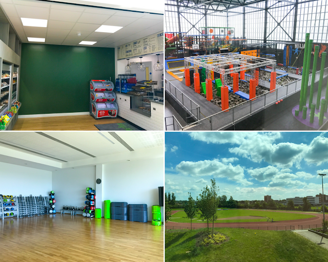 A collage showing the chiller cabinets and counter in the restaurant, a high up view of the Better Extreme Area (including clip and climb, Ninja Run, Trampoline Park and Playzone), one of the fitness studios and the out door running track