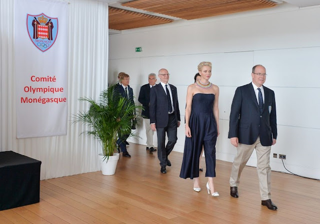 princess Charlene in Dior jumpsuit