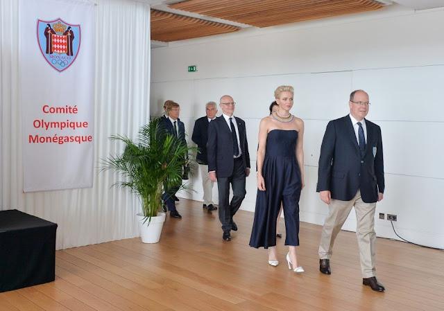 princess Charlene in Dior jumpsuit