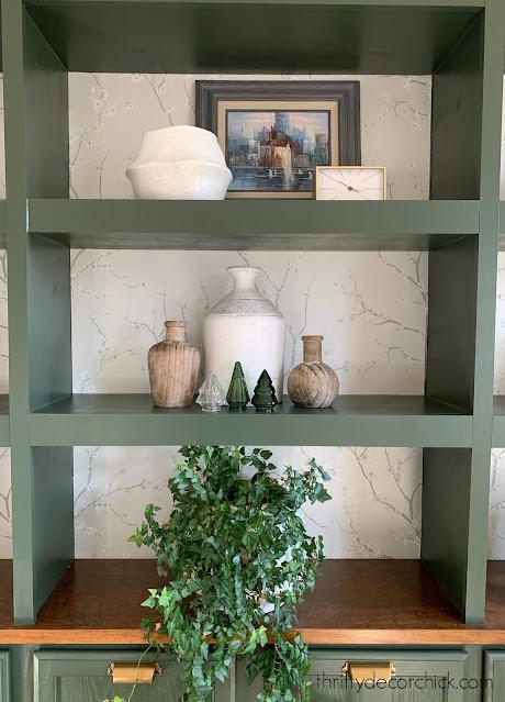 cherry blossom wallpaper green bookcases