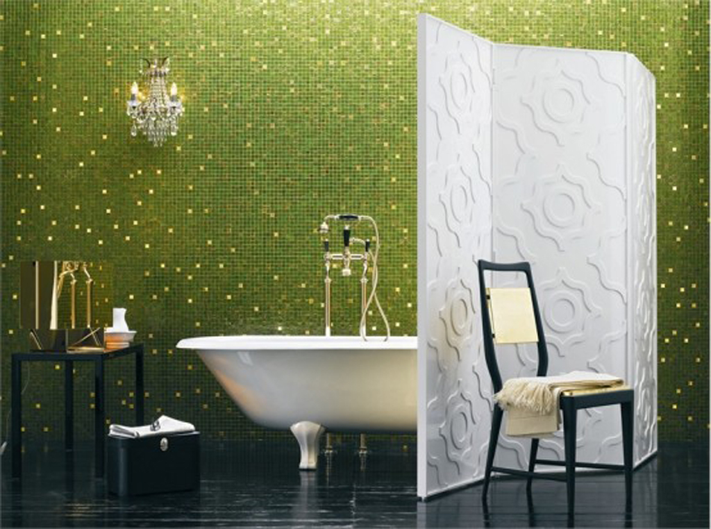 This green tile mosaic shines & expands this bathroom.