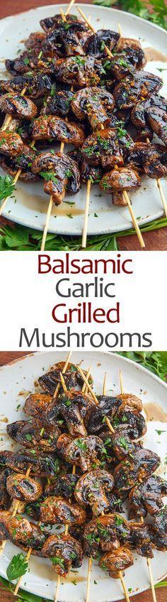 Balsamic #Garlic #Grilled #Mushroom #Skewers