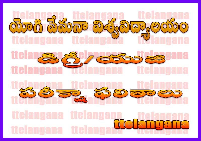 యోగి వేమనా విశ్వవిద్యాలయం డిగ్రీ రెగ్యులర్ సప్లమెంటరీ పరీక్షా ఫలితాలు