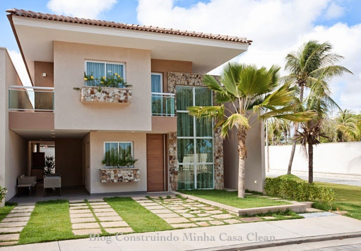 Construindo minha casa clean fachadas de casas com garagem for Aggiunta in cima al garage