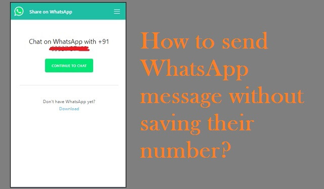 [No APPS] How to send WhatsApp message without saving their number   Whatsapp Tricks