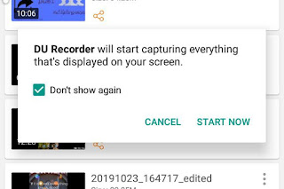 DU Recorder will start capturing everything that's displayed on your screen and save it as video