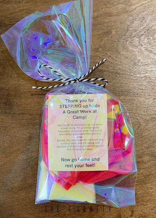 Take Home gift of socks and epsom salt YW camp.