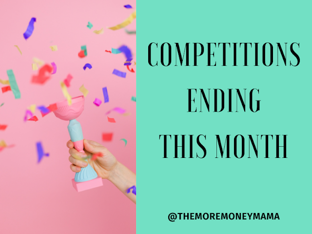 Image shows a multi coloured confetti cannon exploding in front of a pink background. This is next to a square green text box that has the words competitions ending this month @themoremoneymama