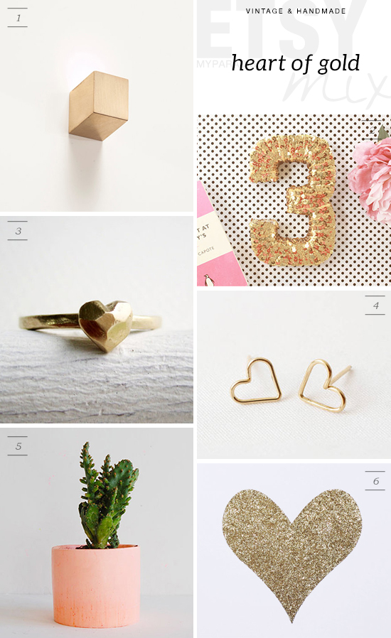Shop handmade golden heart accessories and more for Valentine's day via Etsy