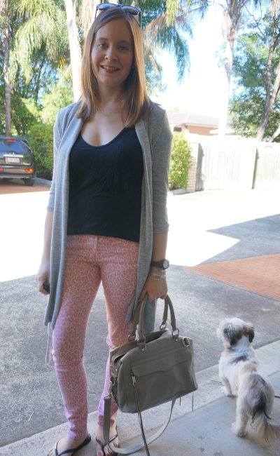 pink leopard print skinny jeans black tee grey cardi RM MAM bag | AwayFromBlue
