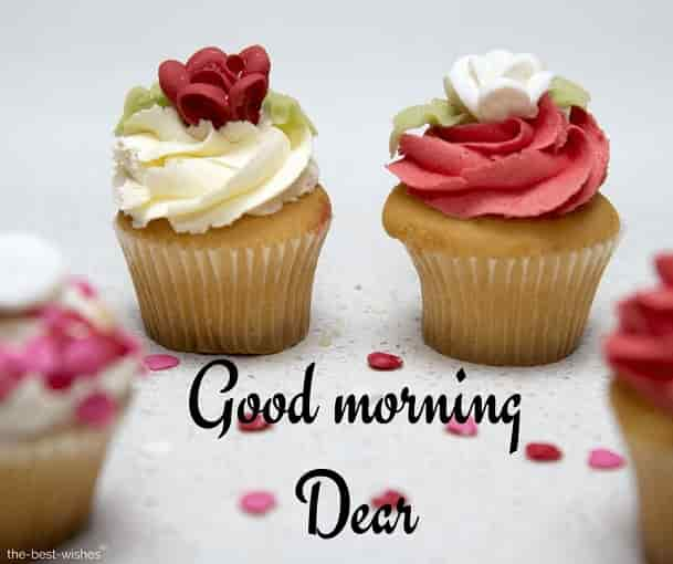 good morning dear with cupcake