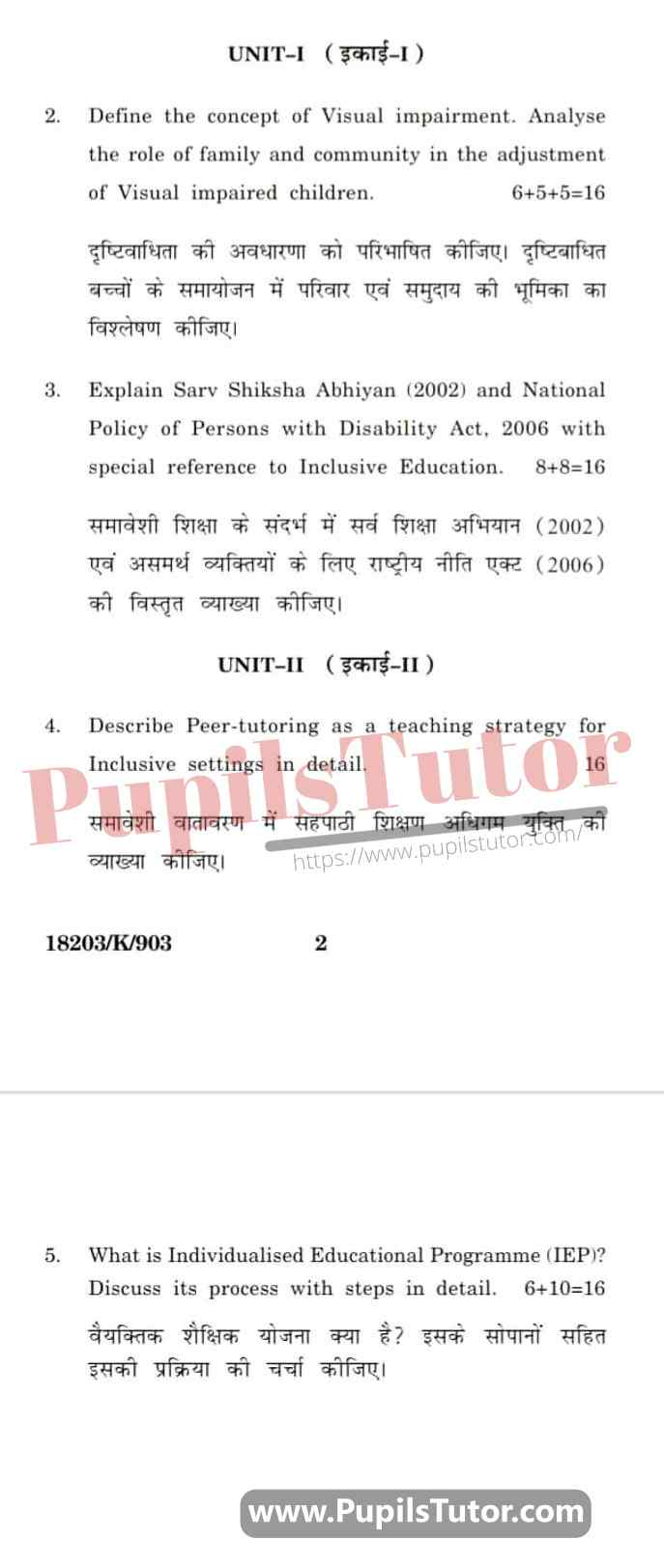 KUK (Kurukshetra University, Haryana) Creating An Inclusive School Question Paper 2020 For B.Ed 1st And 2nd Year And All The 4 Semesters In English And Hindi Medium Free Download PDF - Page 2 - www.pupilstutor.com