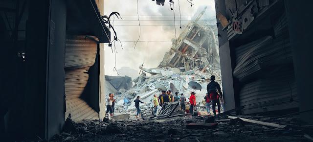 Destrucción de edificios en Gaza tras un ataque aéreo israelí.OCHA/Mohammad Libed
