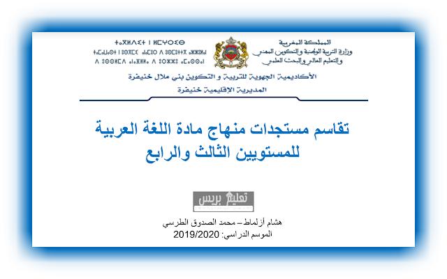 مستجدات منهاج مادة اللغة العربية  للمستويين الثالث والرابع ابتدائي