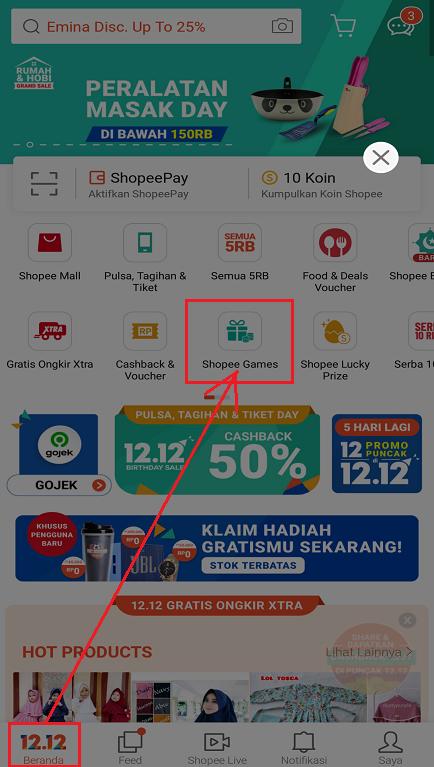 Fitur Shopee Games di Halaman Beranda Aplikasi Marketplace Shopee.