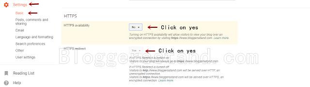 turn on https in blogger from settings for custom domain