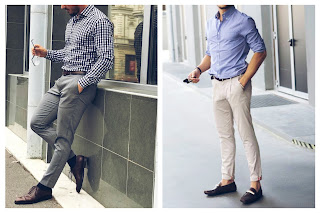 Two mens wearin shirt and trousers.