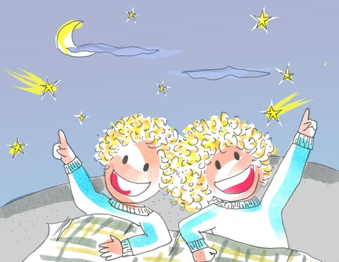 Una noche con estrellas Tina y Leo se divierten observándolas