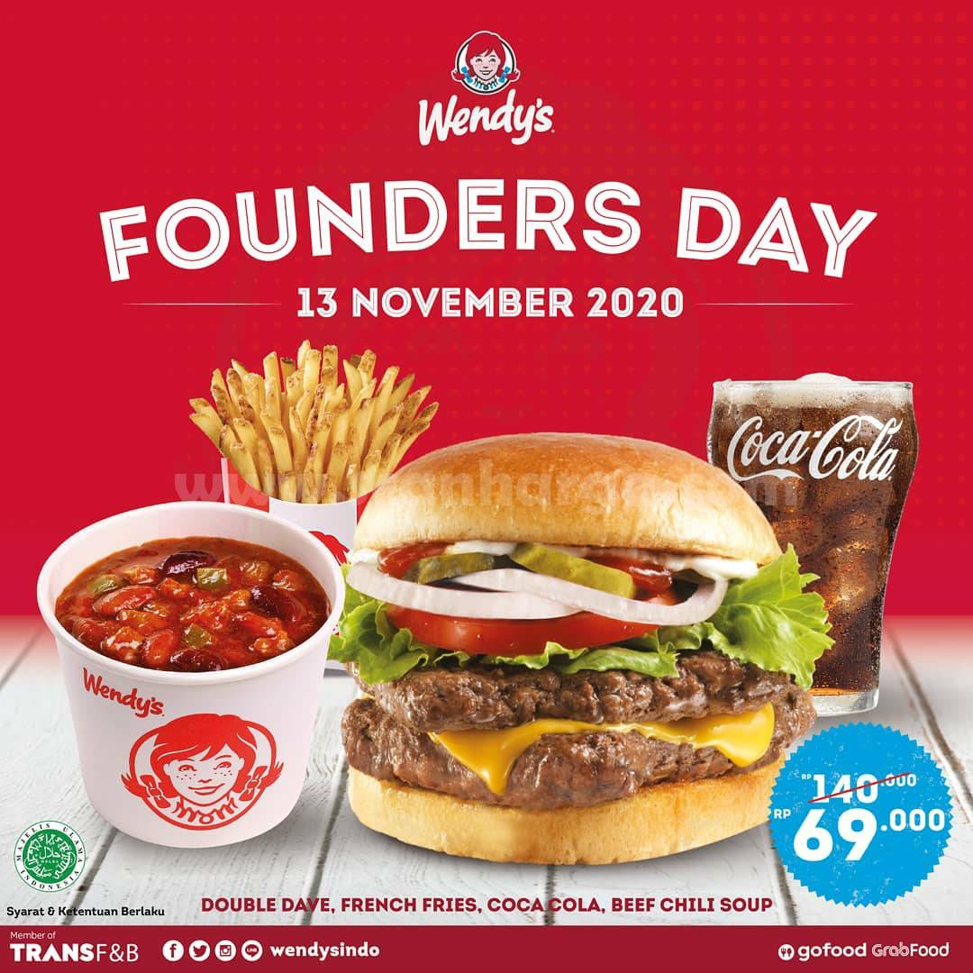 Wendys Founders Day: Promo Double Dave's, French Fries, Cocacola & Beef Chili Soup hanya 69K