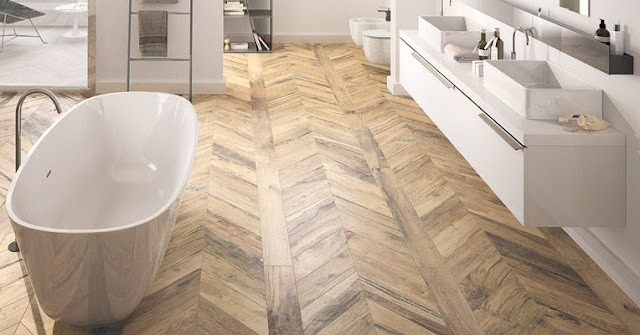 parquet herringbone tile floor for modern bathroom