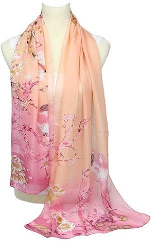 Pink Floral Print Chiffon Scarves