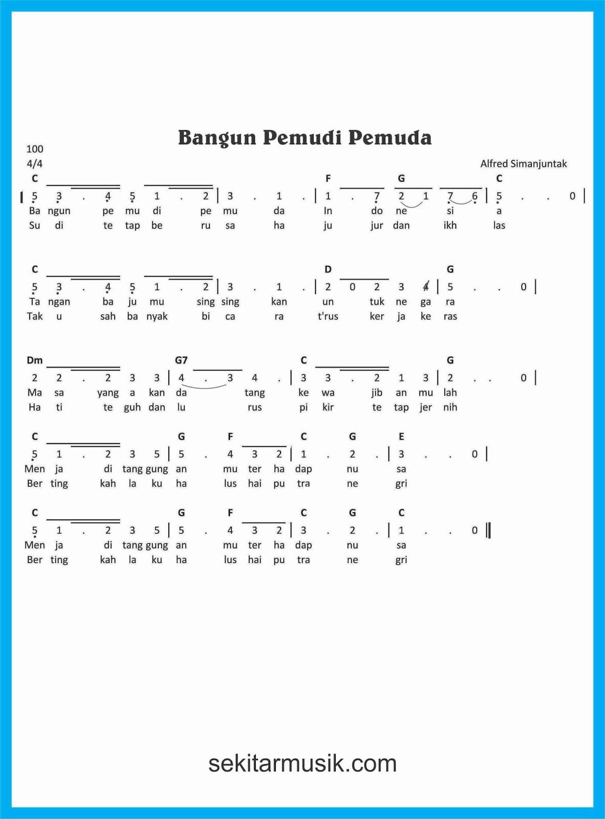 Lirik Lagu Bagun Pemuda Pemudi Sedang