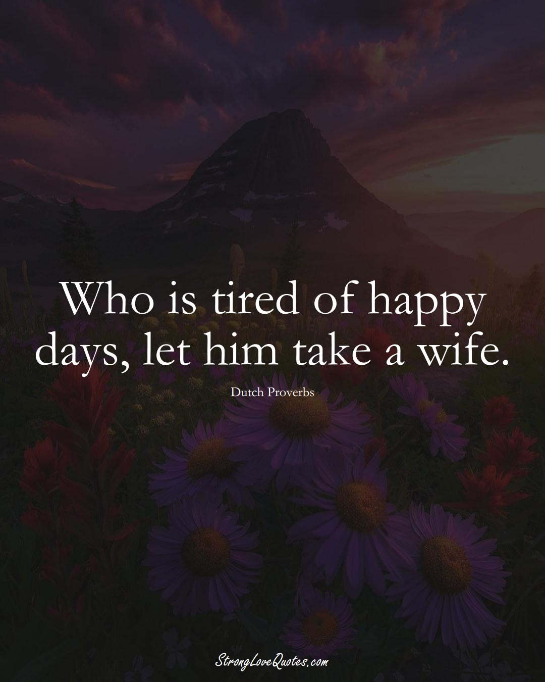 Who is tired of happy days, let him take a wife. (Dutch Sayings);  #EuropeanSayings