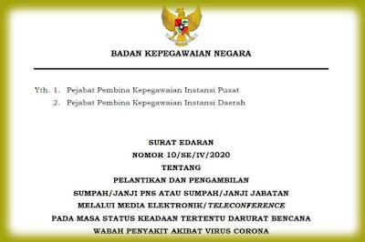 Surat Edaran BKN Nomor 10/SE/IV/2020