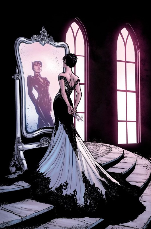 In a dark room lit from tall gothic windows, Selina Kyle is seen standing at a huge ornate mirror, her reflection is dressed in a black catsuit but the real Selina is wearing a long off the shoulder dress, white silk with black lace overlay, the skirt trailing down the steps on which she's standing. She holds a diamond tiara in the shape of cat ears behind her back.