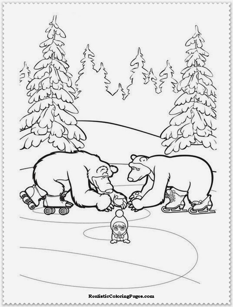 masha and two polar bear coloring pages free