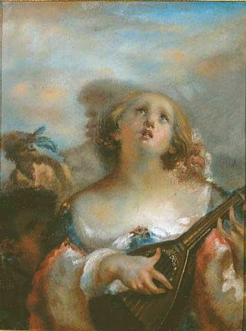 Жан Франсуа Милле - Молодая девушка, играющая на мандолине. 1845