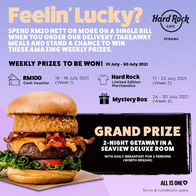 """Feelin' Lucky❗"" lucky draw contest boleh menangi 2-night weekend staycation di Hard Rock Hotel Penang"