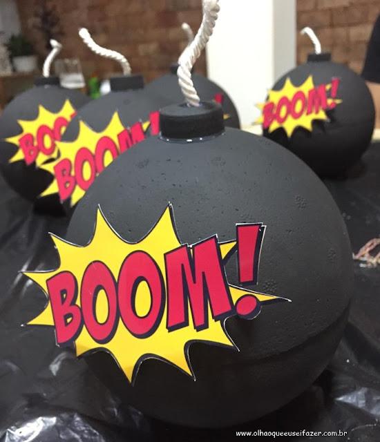 como fazer bomba de isopor - festa Os Vingadores