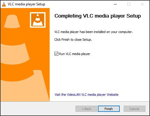 إطلاق VLC بعد التثبيت