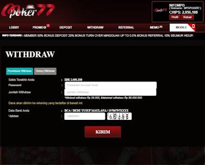 withdraw mpoker77