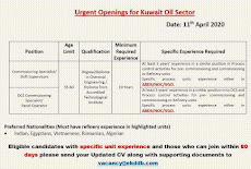 Urgent Openings for Kuwait oil sector