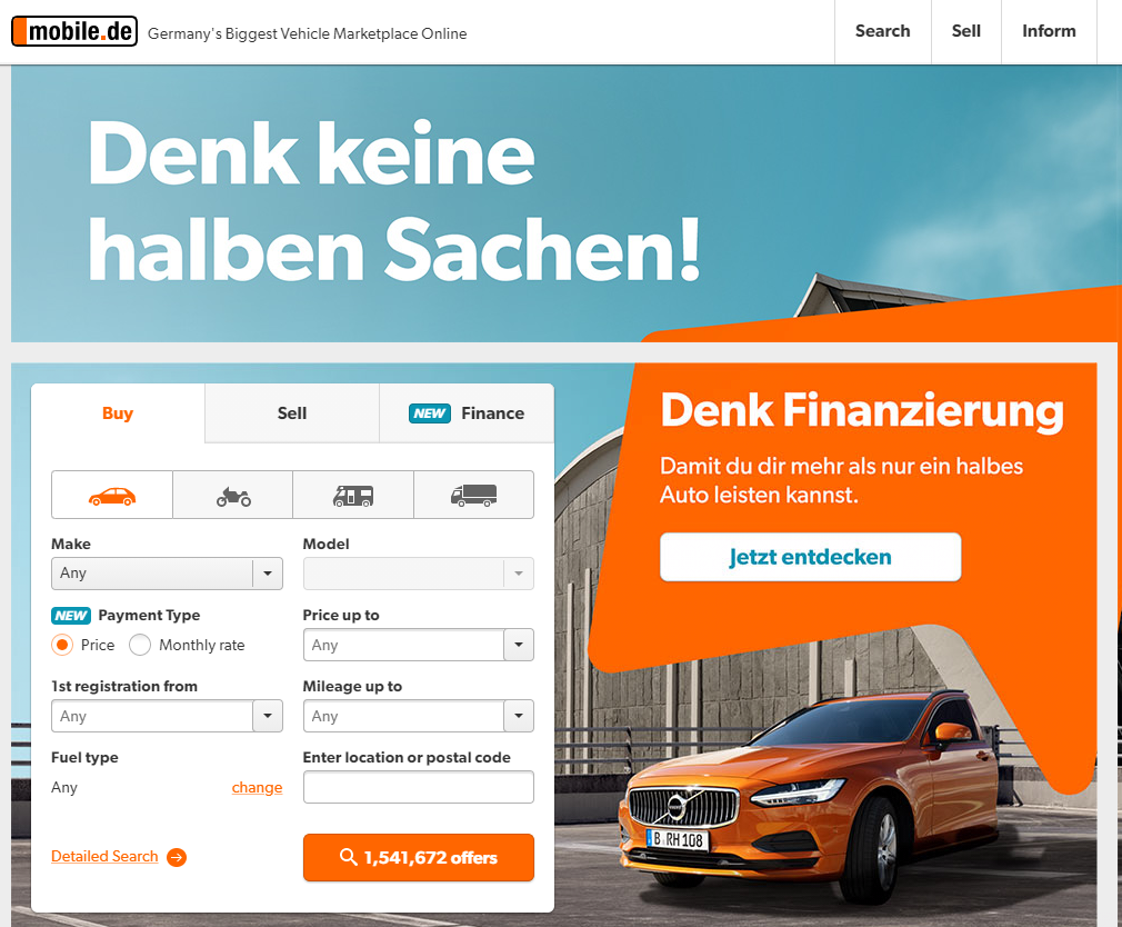 Mobile de - Mobile.de Information About Germanys Largest Used and New Cars vehicle marketplace online