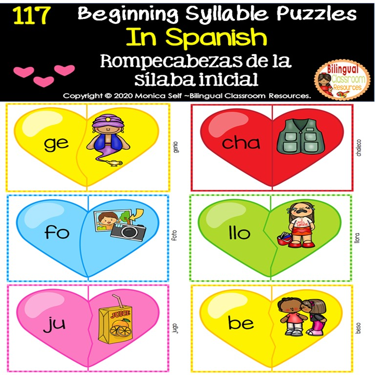 Valentine's Day  Beginning Syllable Puzzles in Spanish
