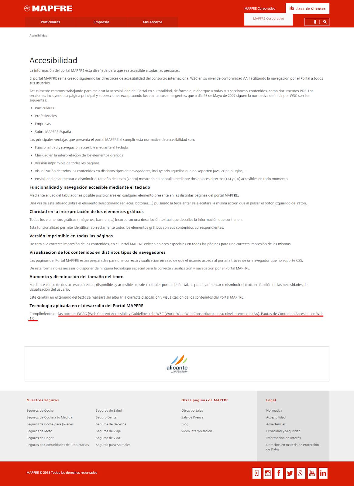 Pagina referente a la accesibilidad en la web de Mapfre