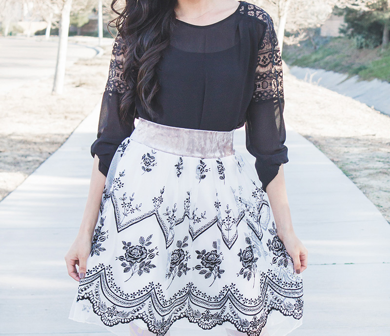 black top with tulle skirt outfit