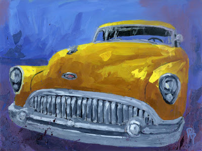 classic car buick 1953 automotive art painting impressionist