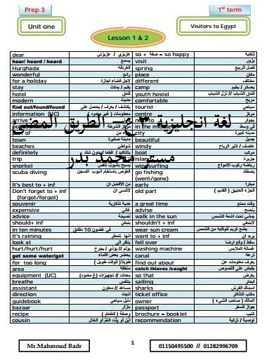حمل احدث مذكرات مادة اللغة الانجليزية للصف الثالث الاعدادى 2018 , مستر محمود بدر English