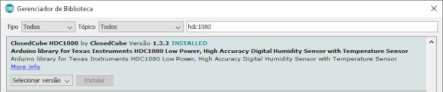 Instalação biblioteca HDC1080 Arduino