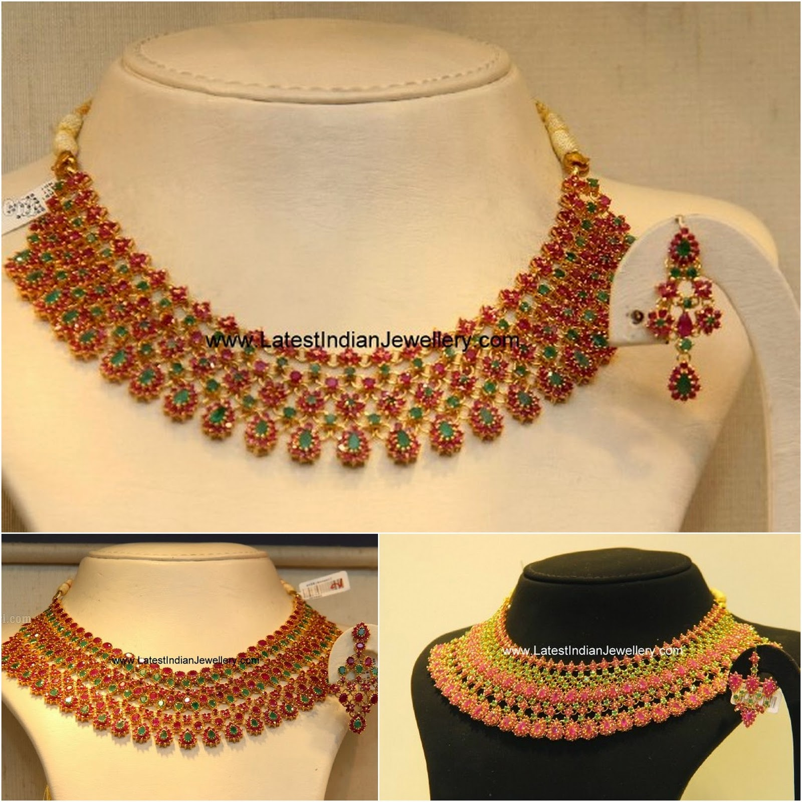 ruby emerald bridal necklace designs