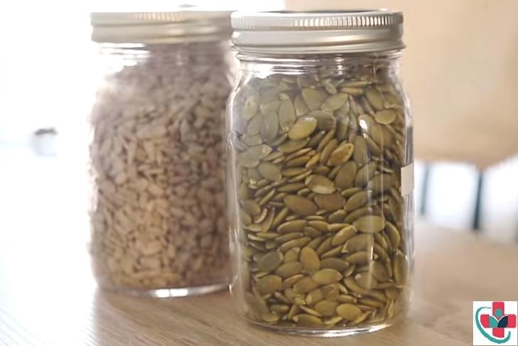 pumpkin seeds in a jar