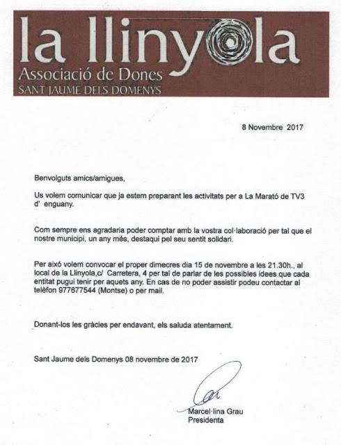 Esguard de Dona - Convocatòria Reunió Entitats Sant Jaume dels Domenys per a col·laborar amb La Marató TV3