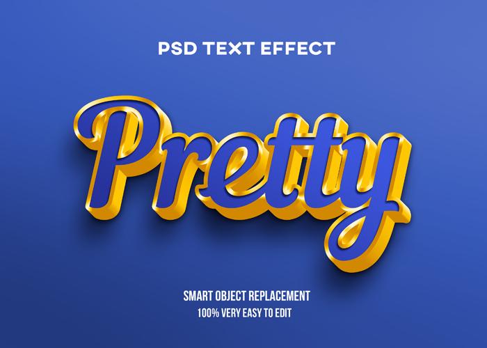 Pretty Blue Text Effect PSD Mockup
