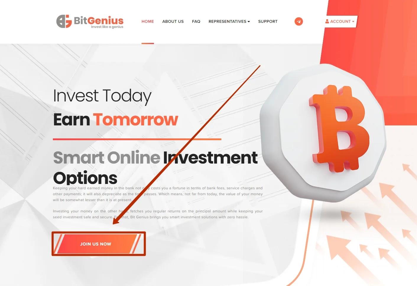 Регистрация в BitGenius