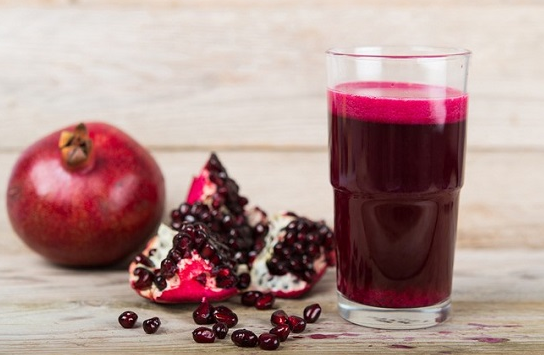 Through the work of natural pomegranate juice