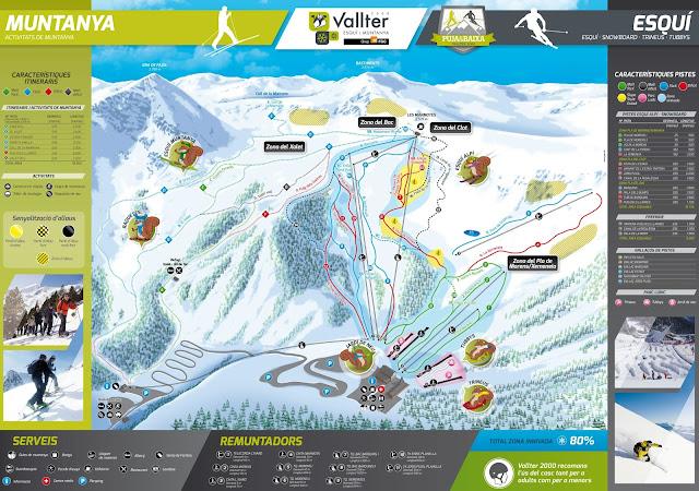 Mapa de pistas de Vallter 2000